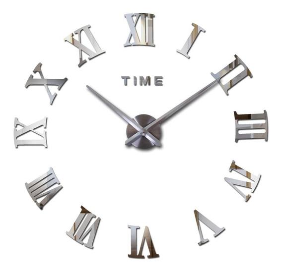 Relógio De Parede Cor Metálica Grande Decorativo 3d Romano
