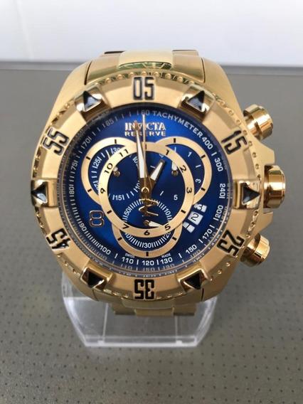 Relógio Invicta 6469 Dourado E Azul Semi Novo Ótimo Estado