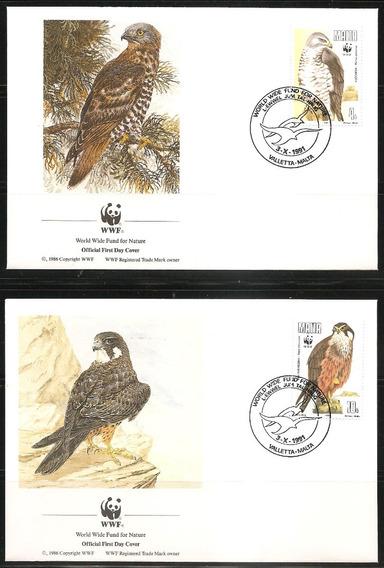 # Mcn # Malta 1991 - Aves De Rapina / Wwf - X4 Fdc