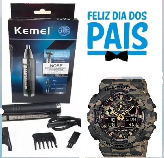 Kit Relógio Militar Camuflado + Aparador De Pelos Elétrico