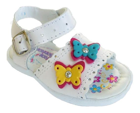 Huarache Infantil Niña Peke Kids 326 Piel Blanco