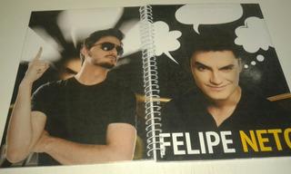 Caderno 10 Materias Com Adesivos Felipe Neto 59585