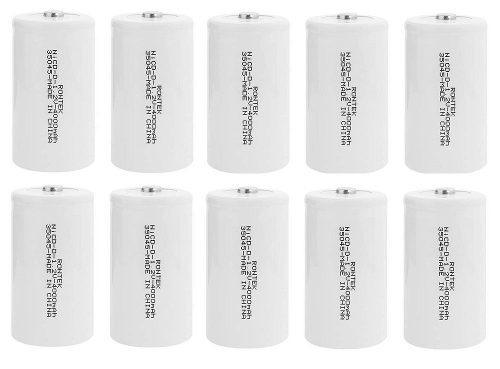 Kit 10 Unidades Baterias Recarregáveis Grande D 4000 Rontek