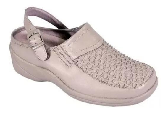 Zapatos Zueco Dama 11 /28 Doble Ancho 24 Hours Comfort Piel