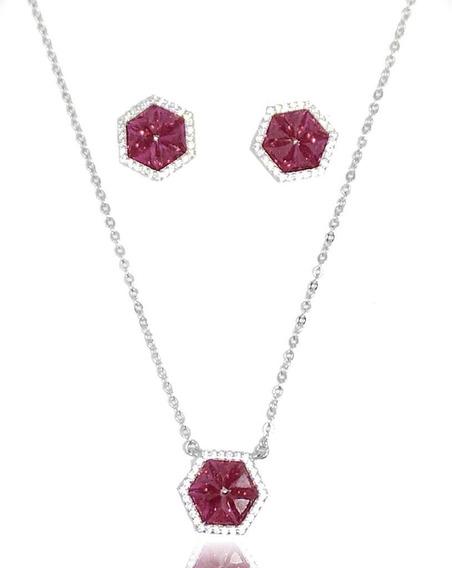 Conjunto Prata 925 Hexágono Pink Fusion
