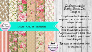 Papeles Digitales Fondos Shabby Chic Vintage Rosa Y Beige B5