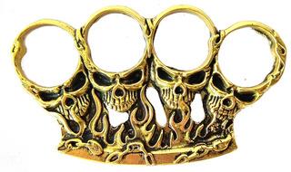 Soco Inglês Em Bronze Maciço Skull Caveira Alto Relevo
