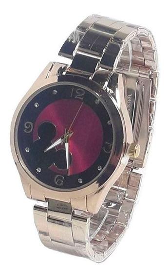 Relógio Feminino Redondo Dourado Minnie Mickey