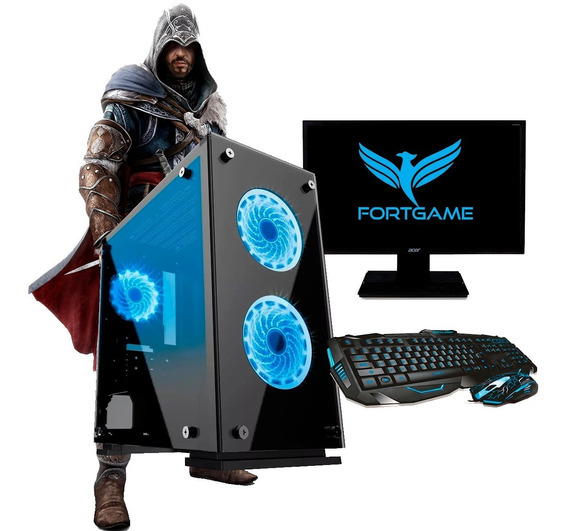 Pc Completo Gamer Monitor 19,5¨ Ssd 120gb Wifi 8gb - Brinde