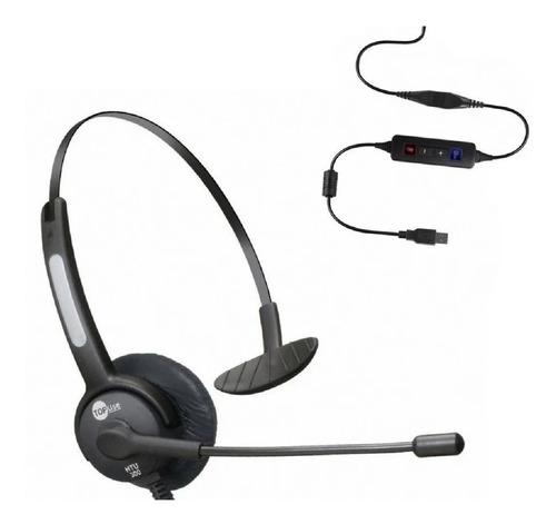 Headset Usb Voip Topuse Htu-300 Monoauricular C/ Canc Ruído