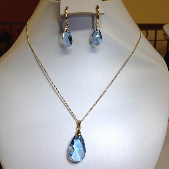 Gota Cristal Swarovsky Azul Dije Y Aretes Oro Laminado