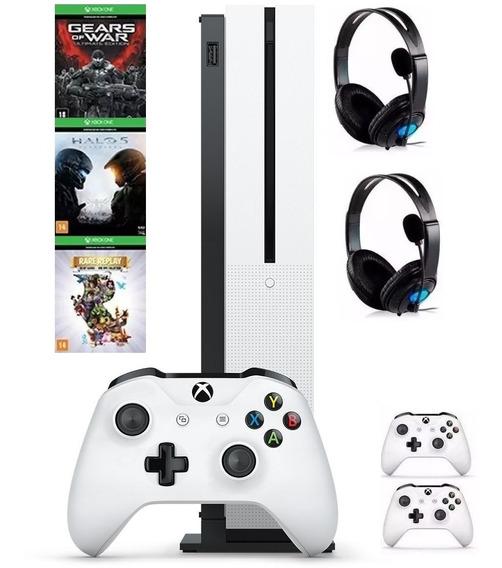 Xbox One S 4k C/ 2 Controles Originais + 3 Jogos + 2 Fones