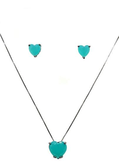 Colar E Brinco Coração Verde, Azul E Cristal
