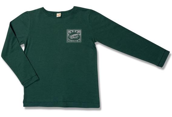 Camiseta Manga Longa Aventura Verde - Infantil Menino