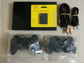 Play 2 + 2 Controles + Memory Card + Cabo Av! Ler Descrição!