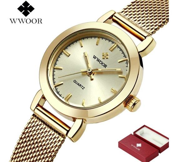 Relógio Feminino De Luxo Dourado Wwoor Todo Em Aço