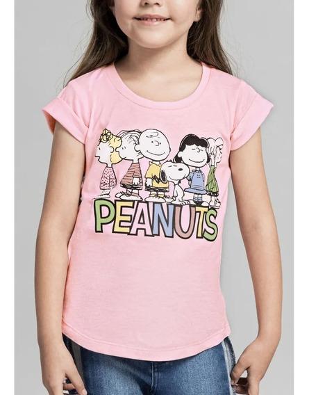 Playera Rosa Niña Peanuts 4 A 12 Años