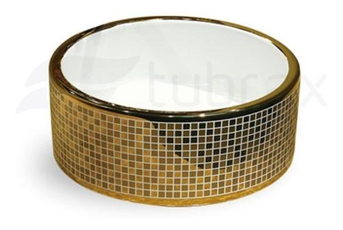 Cuba Banheiro Lavabo Em Louça Dourada Sobrepor Redonda