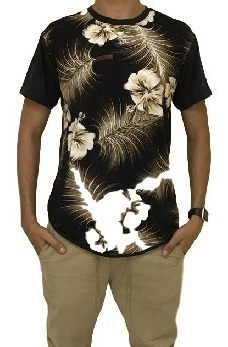 Camisa Masculina Florais Longline Estampads Coloridas