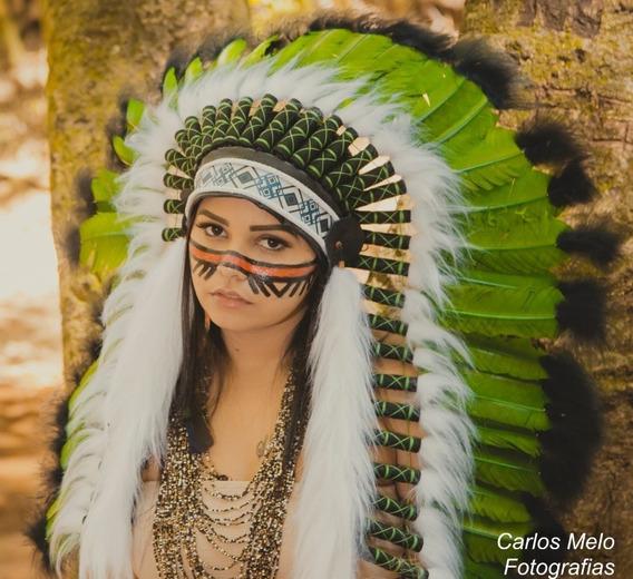 Cocar Indígena Chefe Nativo Americano Penacho Aza