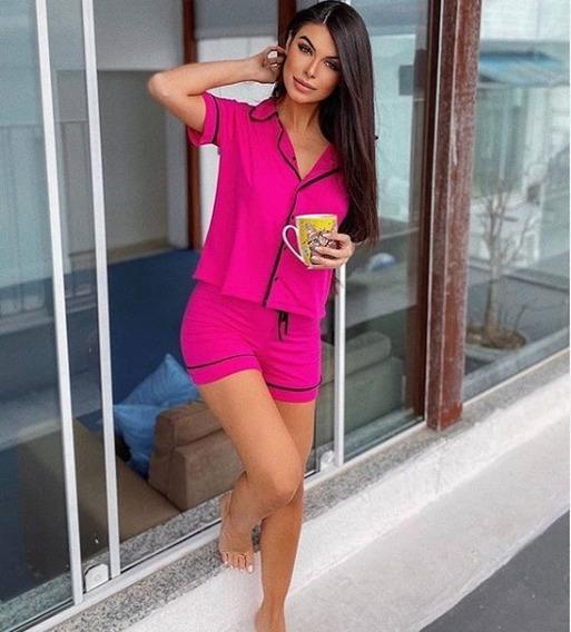Kit 2 Pijamas ( Camisa E Short Pink + Camisa E Calça Preta)