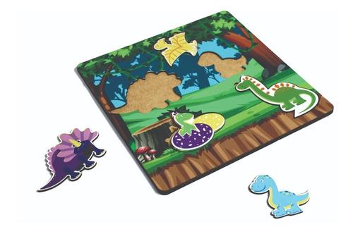 Imagem 1 de 1 de Brinquedo Dinossauro Tabuleiro Encaixe Infantil