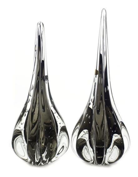 Par De Gotas Cristal De Murano Fênix M + G Cor Ônix (preto)