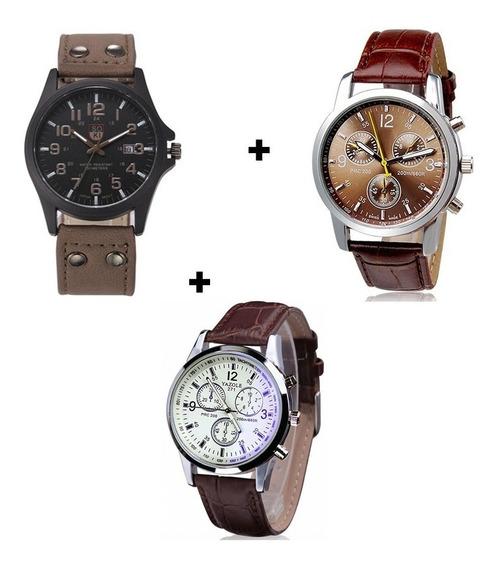 Kit 3 Relógios Masculinos De Luxo Bonitos Baratos Promoção
