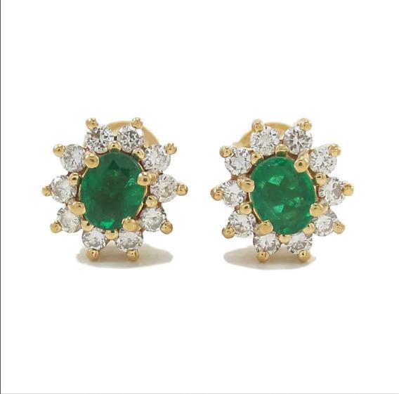 Esfinge Jóias- Brinco Chuveiro Esmeralda Diamantes Ouro 18k