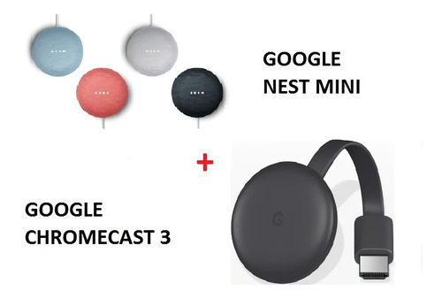 Google Nest Mini 2da Mas Google Chromecast 3 Kit Entrega Ya