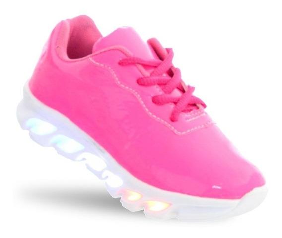 Tenis Led Infantil Feminino Neon Rosa Com Luz