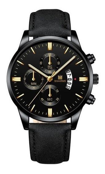 Relógio Unissex Shaarms De Pulso Dourado E Preto