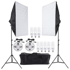 Kit Softbox 60x60 C/ 8 Lampadas+tripe+bolsa Greika Bvolt Nf