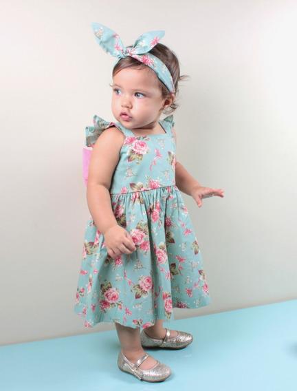 Vestido Infantil Floral 100% Algodão Verde Sofia