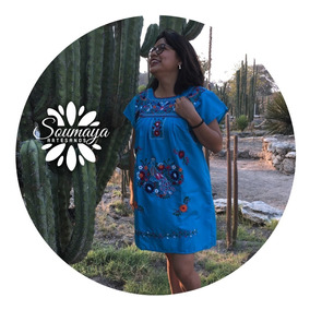 Vestido Típico Mexicano Artesanal Mexicano Bordado Mano