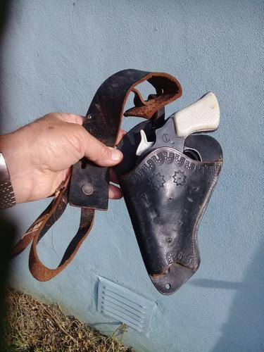 Revolver Calibre 38 Corto Juguete E.p.l.a.x Funda De Cuero