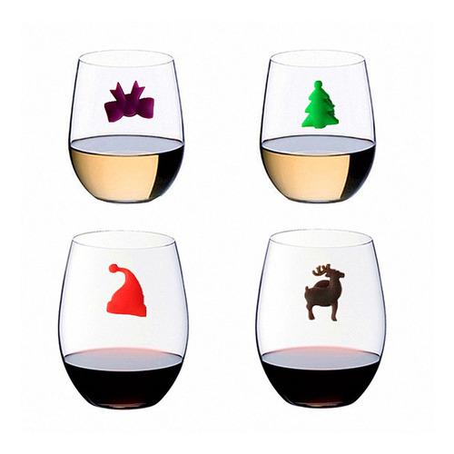 copas de champ/án copas de vino para cocktail dise/ño de animales marinos en miniatura Juego de 24 rotuladores de cristal de silicona para copas de vino vasos de fiesta color aleatorio
