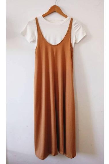 Vestidos Largos Musculosa C/bolsillos Camel (no Inc. Remera)
