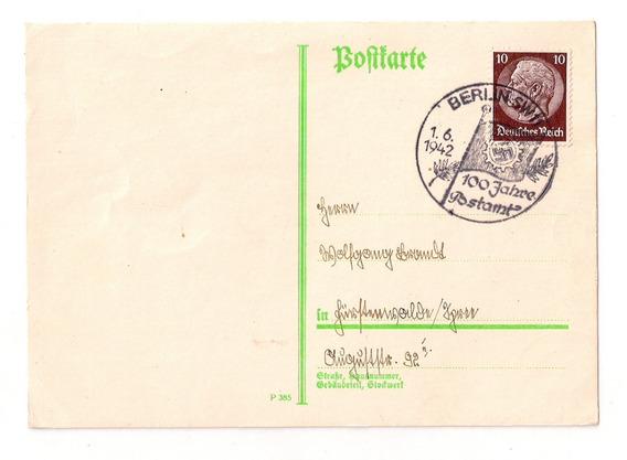Alemania 3º Reich Tarjeta Matasello Berlin Año 1942