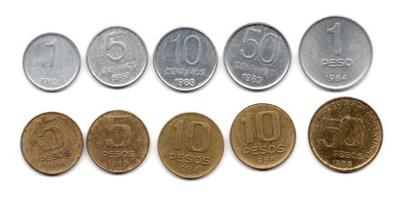Lote Monedas Argentina Peso Argentino Serie Completa 1983-85