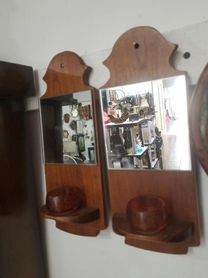 Par De Candelabros De Pared Madera Cedro Con Espejo Remato