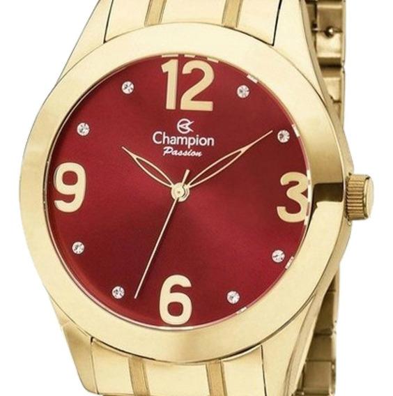 Relógio Feminino Champion Dourado Mostrador Vermelho