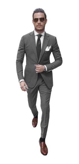 Trajes Hombre Entallados Saco Slim Fit Con Chupín Import Usa