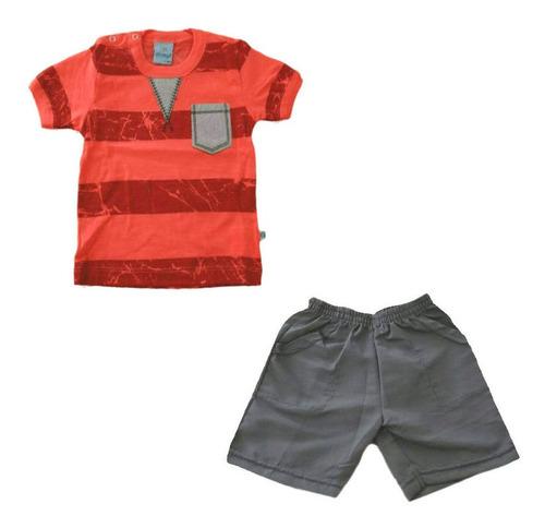 Imagem 1 de 1 de Conjunto Bermuda E Camiseta - Rouge E Indigo - Abrange