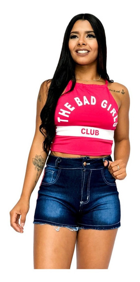 Top Cropped Feminino The Bad Girl, Com Bojo, Verão Ref 288