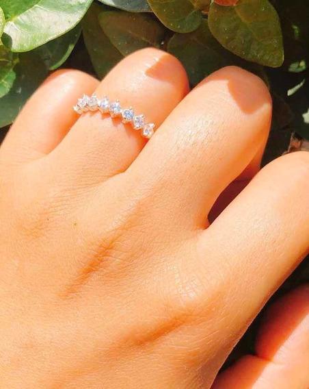 Meia Aliança Prata Com Pedras Cor Cristal