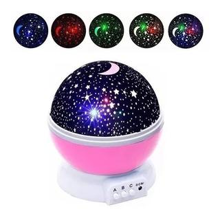 Velador Proyección Estrellas Y Luna Luz De Noche Giratorio
