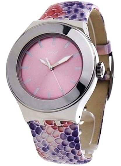 Relógio Swatch Irony Feminino Swiss Original Prata Couro