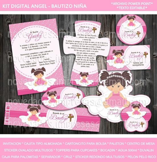 Kit Digital Bautizo Angelito Niña Invitacion Etiquetas Candy