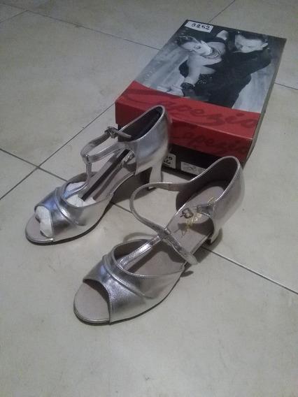 Zapatos Capezio Mujer Cuero Plateados Ballroom Talle 36